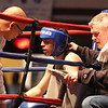 Gabriel Gerolomo between rounds with trainer Dave Ortiz, left, Jackie O'Neil of West End Gym. Central/ Lowell Golden Gloves boxing. Preliminary bouts, Novice. Gabriel Morales of Dracut & Intenze 978 (Red corner) won by unanimous decision over Gabriel Gerolomo of Lowell & Canal Street, in 141 lb Novice bout. (SUN/Julia Malakie)
