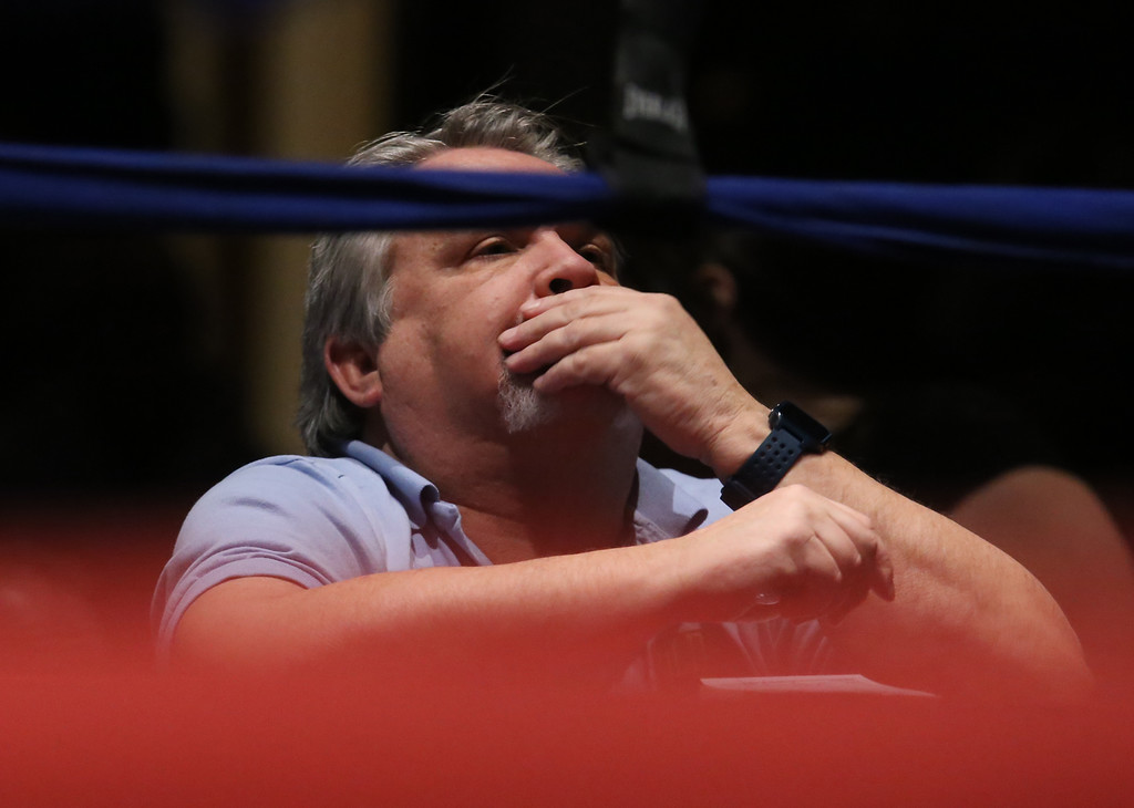 . Central/ Lowell Golden Gloves boxing. Preliminary bouts, Novice. Judge Dave Paton watches a bout. (SUN/Julia Malakie)
