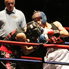 Golden Gloves boxing - week 3. Nelson Perez of Upperkuts Boxing (Red corner), right, won by unanimous decision over Bobby Tomczyk of Paladin Boxing (Blue) in 141 lb Novice semifinal. Referee is Leo Gerstel. (SUN/Julia Malakie)