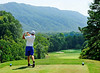 First round leader Chris Wynne tees off at the 14th hole during Saturday's second round in the 60th Ridgefields Mens Invitational at Ridgefields Country Club in Kingsport. Photo by Kris Wilson - kswilson@timesnews.net