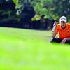 Gardner junior Christoph Knoll lines up a putt on the 17th green. SENTINEL & ENTERPRISE/JOHN LOVE