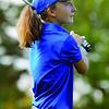 Lunenburg eighth-grader Emily Nash tees off. SENTINEL & ENTERPRISE/JOHN LOVE