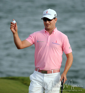 May 13, 2012; Ponte Vedra Beach, FL, USA; Zach Johnson celebrates after a good putt on the 18th hole during the the PLAYERS Championship at TPC Sawgrass. Mandatory Credit: Melina Vastola-US PRESSWIRE