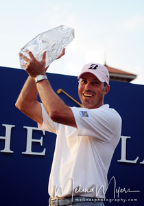 May 13, 2012; Ponte Vedra Beach, FL, USA; Matt Kuchar poses with his trophy after winning the the PLAYERS Championship at TPC Sawgrass. Mandatory Credit: Melina Vastola-US PRESSWIRE