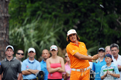 May 13, 2012; Ponte Vedra Beach, FL, USA; Rickie Fowler tees off on the 2nd hole during the fourth round of the PLAYERS Championship at TPC Sawgrass. Mandatory Credit: Melina Vastola-US PRESSWIRE