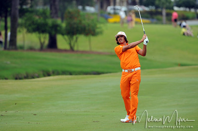 May 13, 2012; Ponte Vedra Beach, FL, USA; Rickie Fowler plays his second shot on the 2nd hole during the fourth round of the PLAYERS Championship at TPC Sawgrass. Mandatory Credit: Melina Vastola-US PRESSWIRE