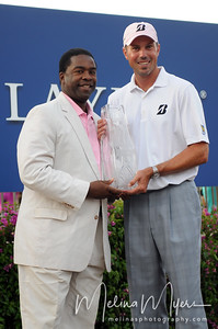 May 13, 2012; Ponte Vedra Beach, FL, USA; Matt Kuchar poses with Mayor of Jacksonville, Alvin Brown, after winning the the PLAYERS Championship at TPC Sawgrass. Mandatory Credit: Melina Vastola-US PRESSWIRE