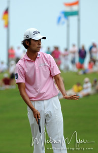 May 13, 2012; Ponte Vedra Beach, FL, USA; Kevin Na reacts to his putt on the 3rd hole during the fourth round of the PLAYERS Championship at TPC Sawgrass. Mandatory Credit: Melina Vastola-US PRESSWIRE
