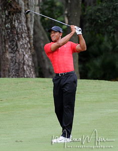 May 13, 2012; Ponte Vedra Beach, FL, USA; Tiger Woods hits his second shot on the 2rd hole during the fourth round of the PLAYERS Championship at TPC Sawgrass. Mandatory Credit: Melina Vastola-US PRESSWIRE