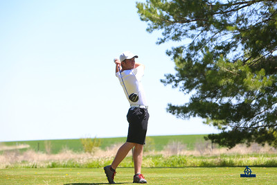 Kimball's Henry Heeg tees off during the class c-5 district golf meet on Monday in Kimball. Heeg would take first place with a score of 69.
