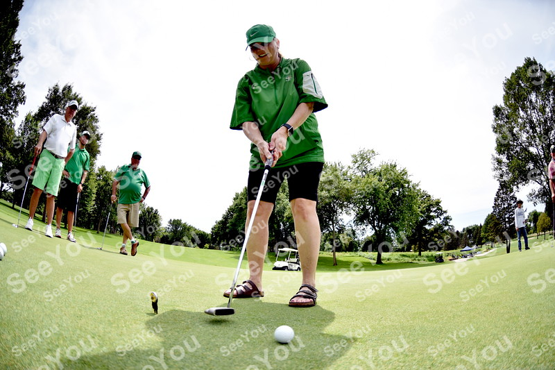 -Messenger photo by Britt Kudla<br /> Mary Gibb of St. Edmond putts during Greater Growth Alliance tournament on Thursday