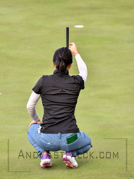ADELAIDE, AUSTRALIA - FEBRUARY 16:  Kelly Shone of the USA lines up a putt during round one of the ISPS Handa Women's Australian Open at Royal Adelaide Golf Club on February 16, 2017 in Adelaide, Australia.