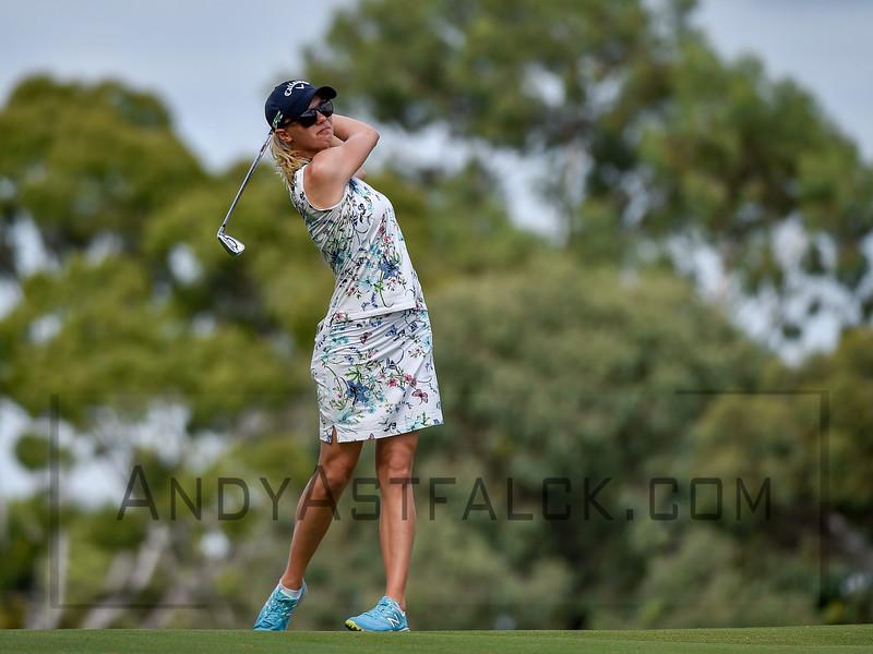 ADELAIDE, AUSTRALIA - FEBRUARY 16:  Madelene Sagstrom of Sweden on the 11th fairway during round one of the ISPS Handa Women's Australian Open at Royal Adelaide Golf Club on February 16, 2017 in Adelaide, Australia.