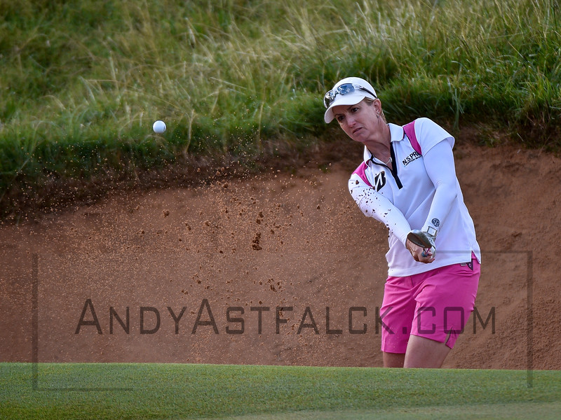 ADELAIDE, AUSTRALIA - FEBRUARY 16:  Karrie Webb of Australia takes a shot out of the bunker on the 11th hole during round one of the ISPS Handa Women's Australian Open at Royal Adelaide Golf Club on February 16, 2017 in Adelaide, Australia.