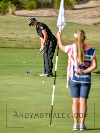 ADELAIDE, AUSTRALIA - FEBRUARY 16:  Brooke Henderson of Canada putts on the 11th green during round one of the ISPS Handa Women's Australian Open at Royal Adelaide Golf Club on February 16, 2017 in Adelaide, Australia.