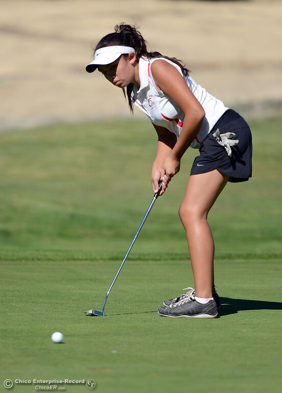 . Chico High\'s Nicole Dempsey plays in the EAL girls golf match at Bidwell Golf Course Thursday, October 3, 2013, in Chico, Calif.  (Jason Halley/Chico Enterprise-Record)