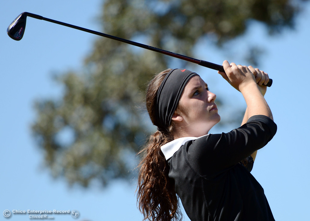 . Chico High\'s Lexi Towner plays in the EAL girls golf match at Bidwell Golf Course Thursday, October 3, 2013, in Chico, Calif.  (Jason Halley/Chico Enterprise-Record)