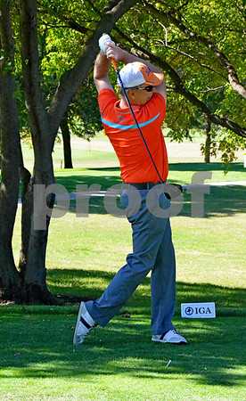 -Messenger photo by Britt Kudla<br /> Bill Manske of Fort Dodge tees off his first hole of the day on Saturday at the Fort Dodge Country Club