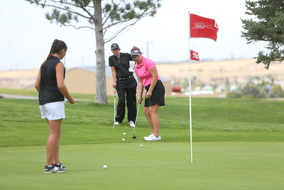 Gering's Afton Mitchell hits her putt during class B district golf in Sidney.