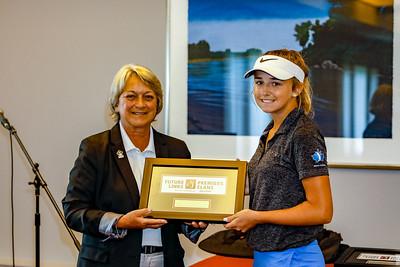 Abbey Baker accepting her third place award.  2018 Terra Nova National Junior Golf Tournament Future Links