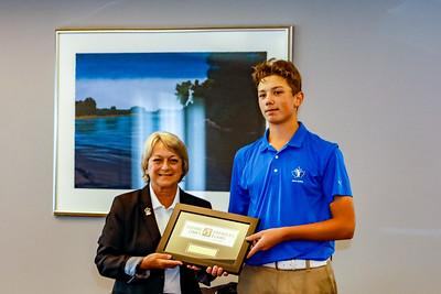 Owen Mullen accepting his first place award 2018 Terra Nova National Junior Golf Tournament Future Links