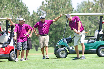 Team Fisher Roofing - Ryan Knutson golfing, L-R Scott Butler, Dave Knutson, Johnny Mendez