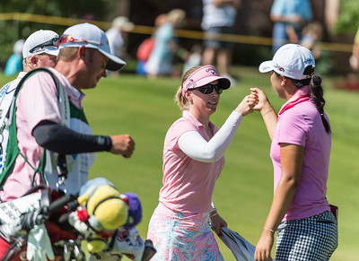 Morgan Pressel and Lydia Ko celebrate birdies on hole number 8 during the 2016 Walmart NW Arkansas Championship presented by P&G at Pinnacle Country Club in Rogers Arkansas on Sunday, June 26, 2016.  (Alan Jamison, Nate Allen Sports Service)