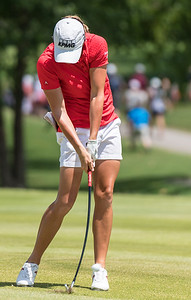 Stacy Lewis hits an iron shot during the 2016 Walmart NW Arkansas Championship presented by P&G at Pinnacle Country Club in Rogers Arkansas on Sunday, June 26, 2016.  (Alan Jamison, Nate Allen Sports Service)