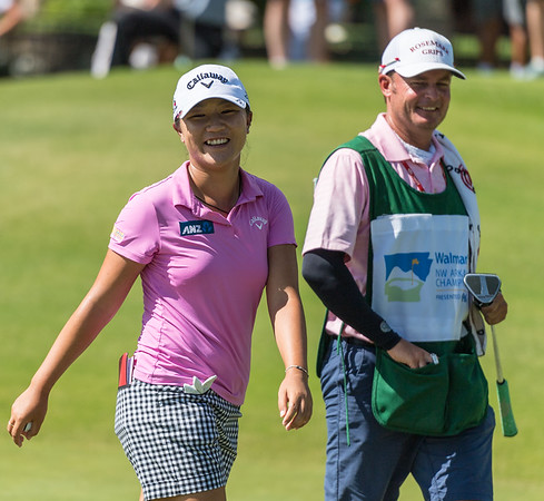 Lydia Ko smiles after sinking a birdie on number 8 during the 2016 Walmart NW Arkansas Championship presented by P&G at Pinnacle Country Club in Rogers Arkansas on Sunday, June 26, 2016.  (Alan Jamison, Nate Allen Sports Service)