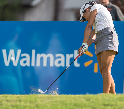 Regina Plasencia hits a tee shot during the 2016 Walmart NW Arkansas Championship presented by P&G at Pinnacle Country Club in Rogers Arkansas on Friday, June 24, 2016.  (Alan Jamison, Nate Allen Sports Service)