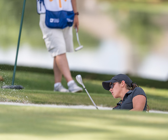Maria Fassi hits out of the sand trap during the 2016 Walmart NW Arkansas Championship presented by P&G at Pinnacle Country Club in Rogers Arkansas on Friday, June 24, 2016.  (Alan Jamison, Nate Allen Sports Service)