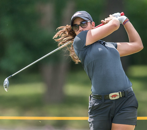 Maria Fassi hits from the fairway during the 2016 Walmart NW Arkansas Championship presented by P&G at Pinnacle Country Club in Rogers Arkansas on Friday, June 24, 2016.  (Alan Jamison, Nate Allen Sports Service)