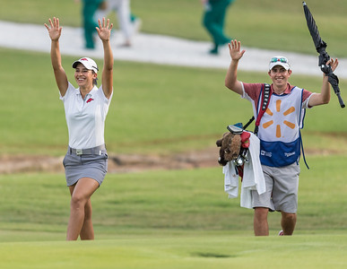 Regina Plasencia and her caddy call the hogs at the 17th hole during the 2016 Walmart NW Arkansas Championship presented by P&G at Pinnacle Country Club in Rogers Arkansas on Friday, June 24, 2016.  (Alan Jamison, Nate Allen Sports Service)