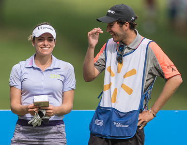 Gaby Lopez laughs with her caddy during the 2016 Walmart NW Arkansas Championship presented by P&G at Pinnacle Country Club in Rogers Arkansas on Friday, June 24, 2016.  (Alan Jamison, Nate Allen Sports Service)