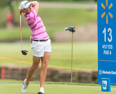 Stacy Lewis tees off during the 2016 Walmart NW Arkansas Championship presented by P&G at Pinnacle Country Club in Rogers Arkansas on Friday, June 24, 2016.  (Alan Jamison, Nate Allen Sports Service)