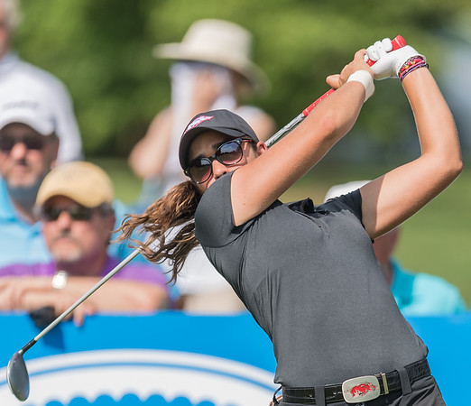 Maria Fassi with a tee shot during the 2016 Walmart NW Arkansas Championship presented by P&G at Pinnacle Country Club in Rogers Arkansas on Friday, June 24, 2016.  (Alan Jamison, Nate Allen Sports Service)