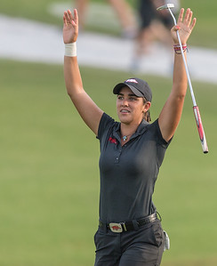 Maria Fassi calls the hogs with fans at the 17th hole during the 2016 Walmart NW Arkansas Championship presented by P&G at Pinnacle Country Club in Rogers Arkansas on Friday, June 24, 2016.  (Alan Jamison, Nate Allen Sports Service)