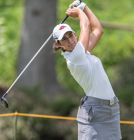 Regina Plasencia hits an iron shot during the 2016 Walmart NW Arkansas Championship presented by P&G at Pinnacle Country Club in Rogers Arkansas on Friday, June 24, 2016.  (Alan Jamison, Nate Allen Sports Service)