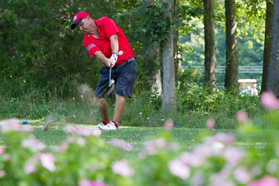 Glenn Ford tees off on 6 Saturday during the Meriden Open Golf Tournament at Hunter Golf Club in Meriden Aug. 19, 2017 | Justin Weekes / For the Record-Journal