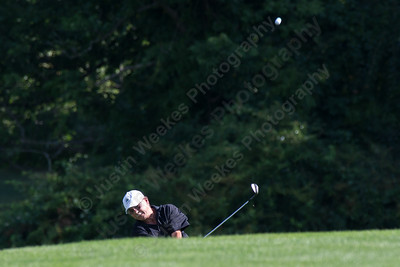 Paul Bernier plays his approach shot to the 18th green Saturday during the Meriden Open Golf Tournament at Hunter Golf Club in Meriden Aug. 19, 2017 | Justin Weekes / For the Record-Journal