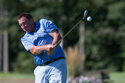 John Thornton tees off on the 4th hole Sunday during the Meriden Open Golf Tournament at Hunter Golf Club in Meriden Aug. 20, 2017 | Justin Weekes / For the Record-Journal