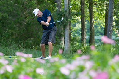 Rick Malafronte tees off on 6 Saturday during the Meriden Open Golf Tournament at Hunter Golf Club in Meriden Aug. 19, 2017 | Justin Weekes / For the Record-Journal