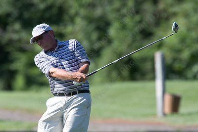 Donato Lupacchino tees off on the 4th hole Sunday during the Meriden Open Golf Tournament at Hunter Golf Club in Meriden Aug. 20, 2017 | Justin Weekes / For the Record-Journal