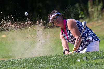 Valere Miller plays out of a green side bunker on 3 Sunday during the Meriden Open Golf Tournament at Hunter Golf Club in Meriden Aug. 20, 2017 | Justin Weekes / For the Record-Journal
