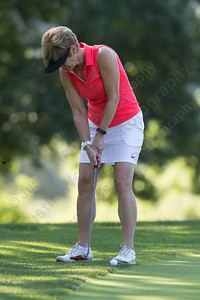 Cindy Kennedy putts from the fringe on 3 Sunday during the Meriden Open Golf Tournament at Hunter Golf Club in Meriden Aug. 20, 2017 | Justin Weekes / For the Record-Journal