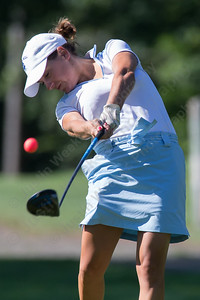 Katie Pesko tees off on the 4th hole Sunday during the Meriden Open Golf Tournament at Hunter Golf Club in Meriden Aug. 20, 2017 | Justin Weekes / For the Record-Journal