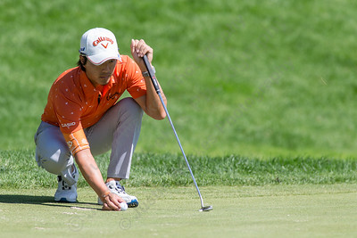 Ryo Ishikawa lines his put up Wednesday during the Travelers Championship Pro-Am at TPC River Highland in Cromwell Jun. 24, 2015 | Justin Weekes / For the Record-Journal