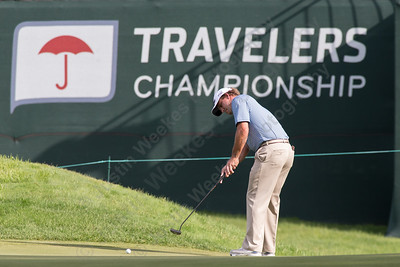 Nick Thompson puts for eagle on the fifteenth green Thursday during first round play at the Travelers Championship in Cromwell  Jun. 25, 2015 | Justin Weekes / For the Record-Journal