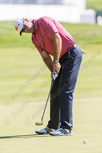 Stewart Cink watches his put Wednesday during the Travelers Championship Pro-Am at TPC River Highland in Cromwell Jun. 24, 2015 | Justin Weekes / For the Record-Journal
