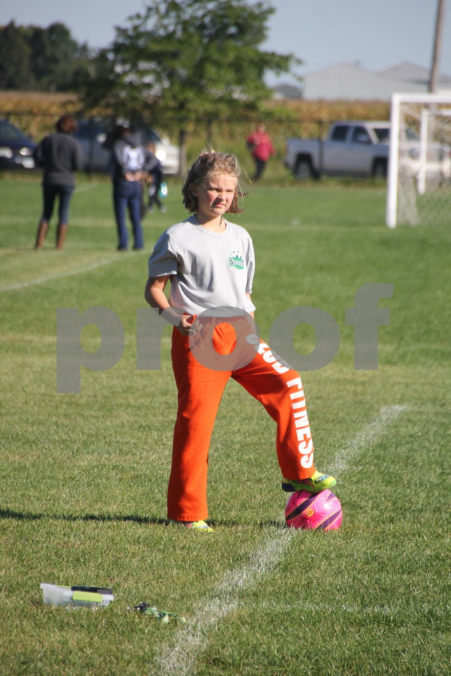 Saturday Morning Soccer was held at Harlan Rogers Sports Complex on Saturday. September 10, 2016 in Fort Dodge. Present and taking part in the event were several teams of all ages and comprised of both boys and girls. Pictured is: Faith Shirbroun taking a moment to pose for a picture while watching the game.